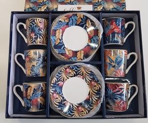 coffret 6 tasses à café et sous tasses